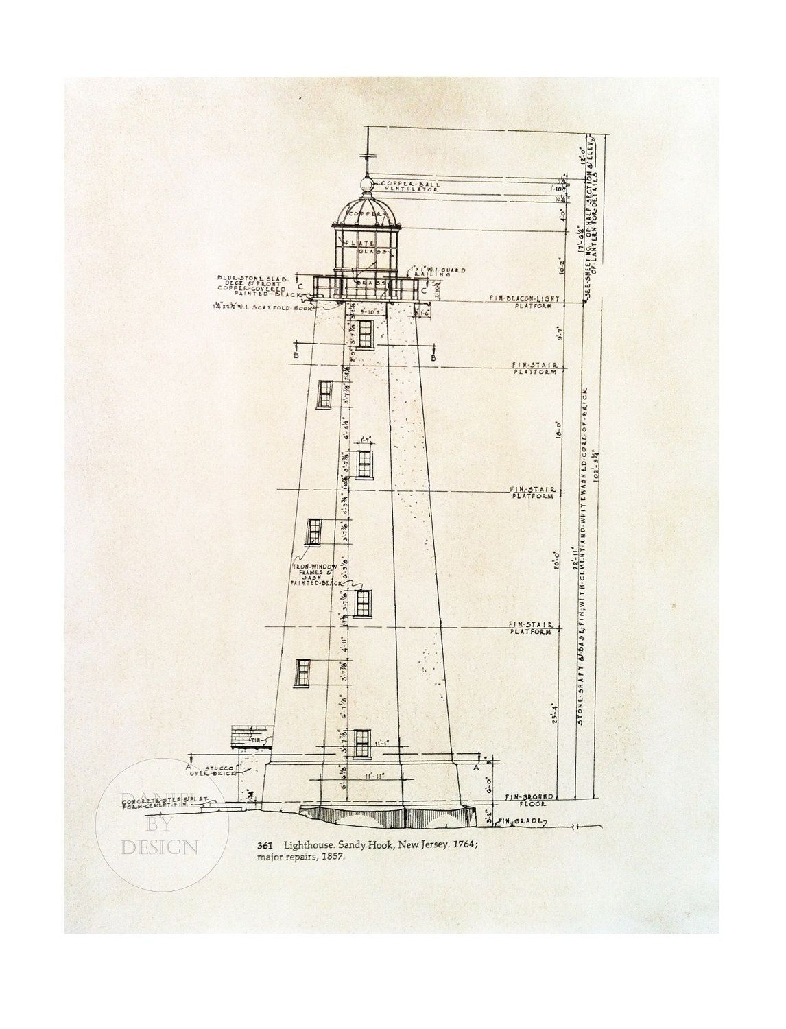 Architectural Lighthouse Print Measuring 8 5 X 11 Lighthouse Print Lighthouse Architecture