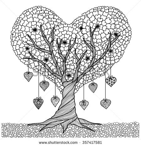 Hand drawn heart shape tree for coloring book for adult 2016