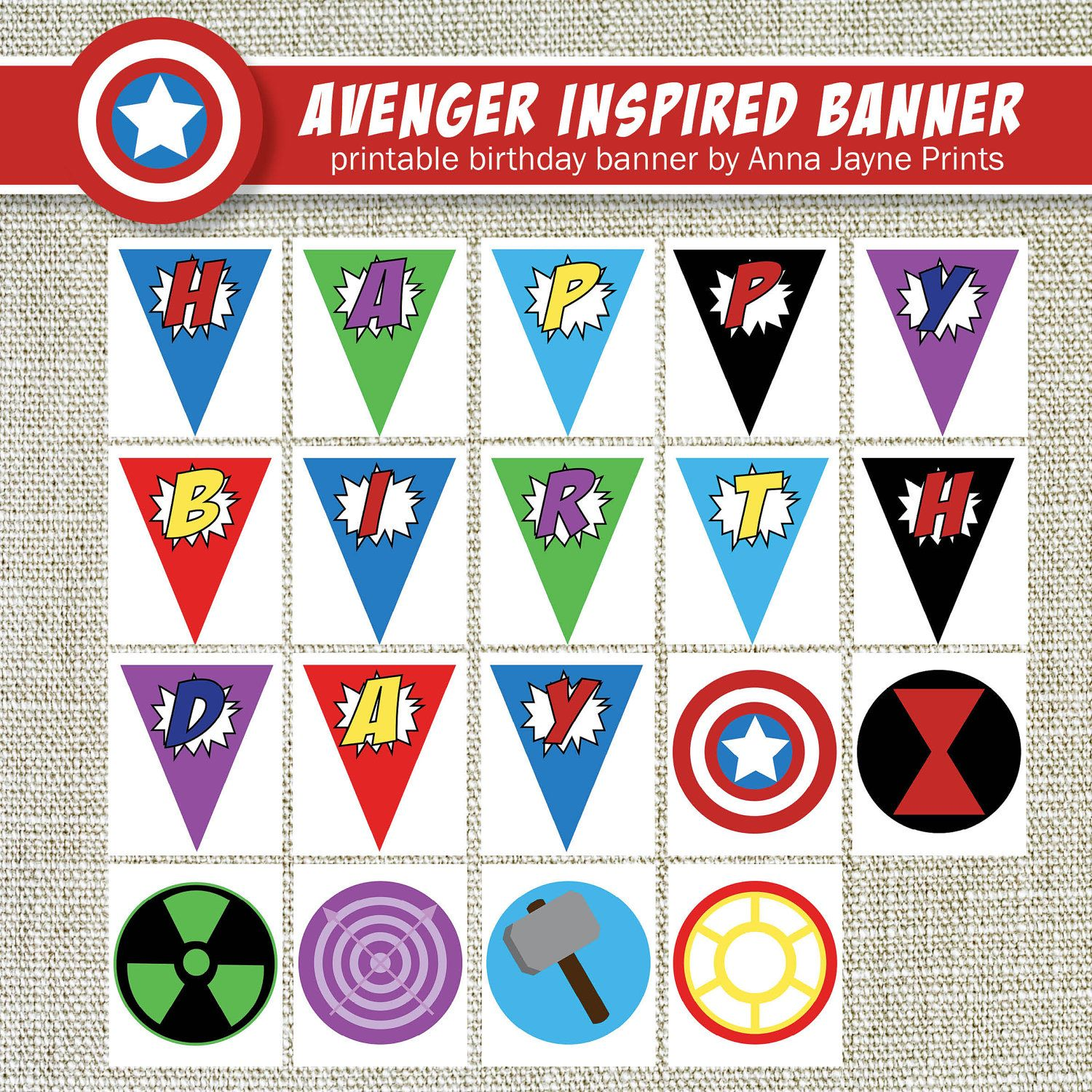 VINTAGE AVENGERS Inspired Happy Birthday Banner Style A1