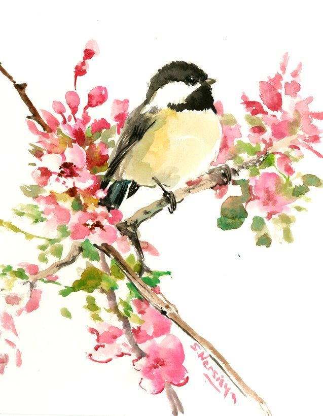 Chickadee And Flowers One Of A Kind Original Watercolor