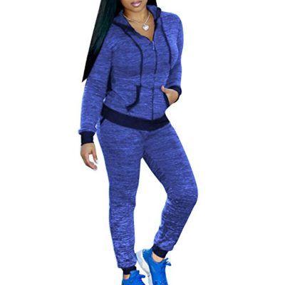 Chandal Conjunto para Mujer Moda Casual Conjuntos Deportivos Cremallera  Manga Larga Sweatshirt Sudadera con Capucha + f30953bb641f