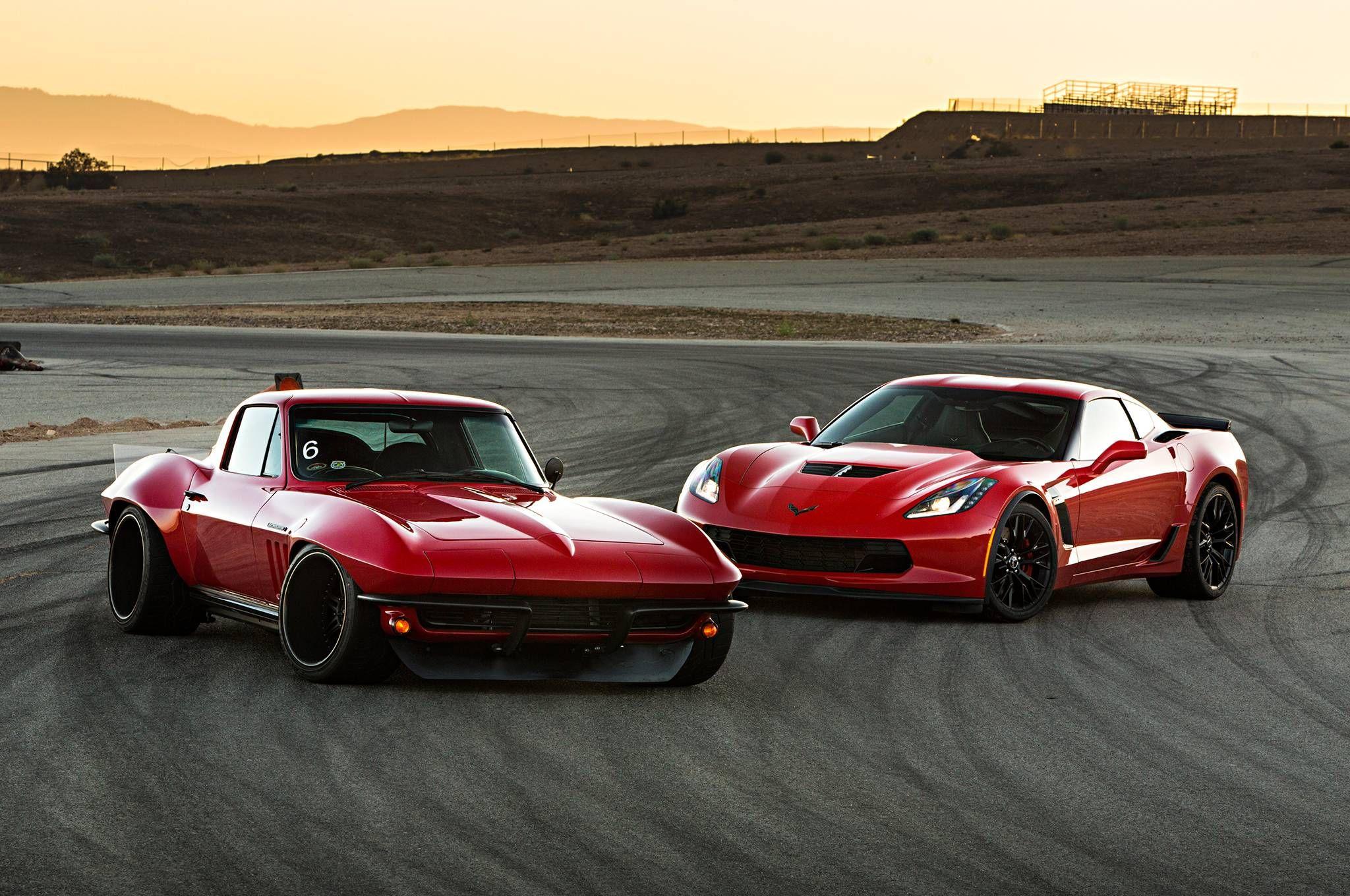 1965 Corvette and a 2015 Corvette Z06 [2048x1360] - see http://www ...