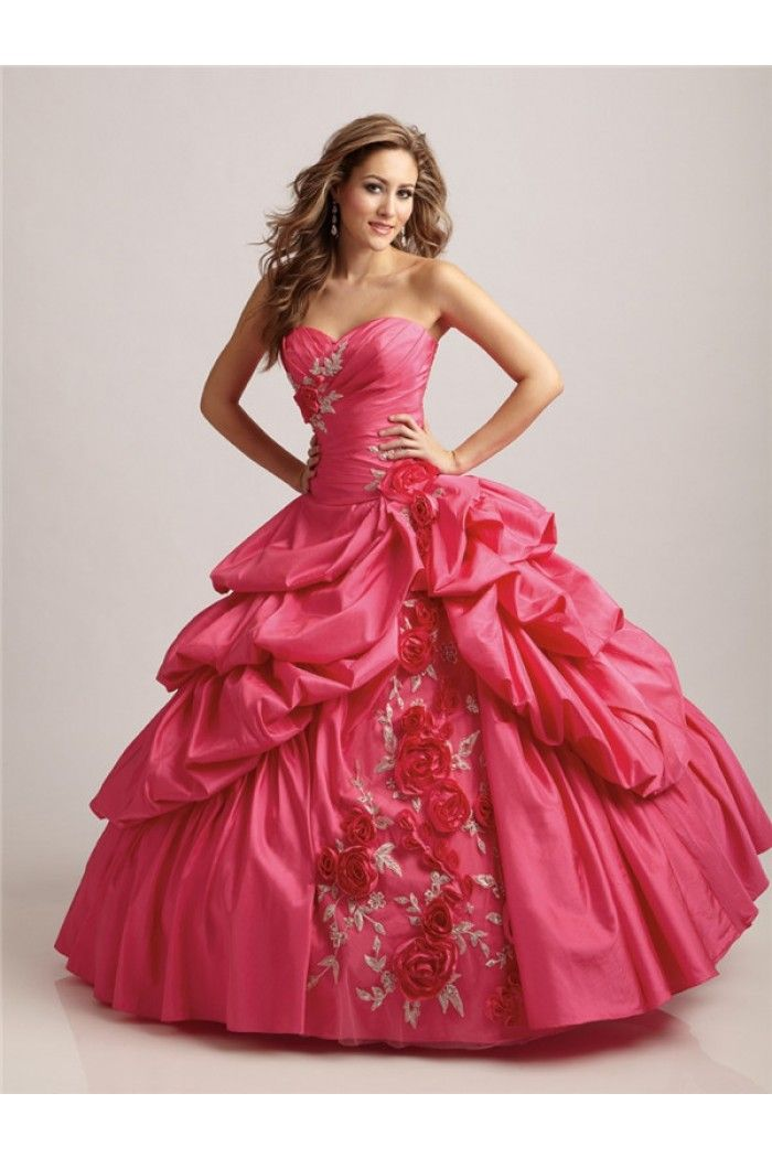 Ball Gown Strapless Sweetheart Hot Pink Taffeta Draped Corset Prom ...