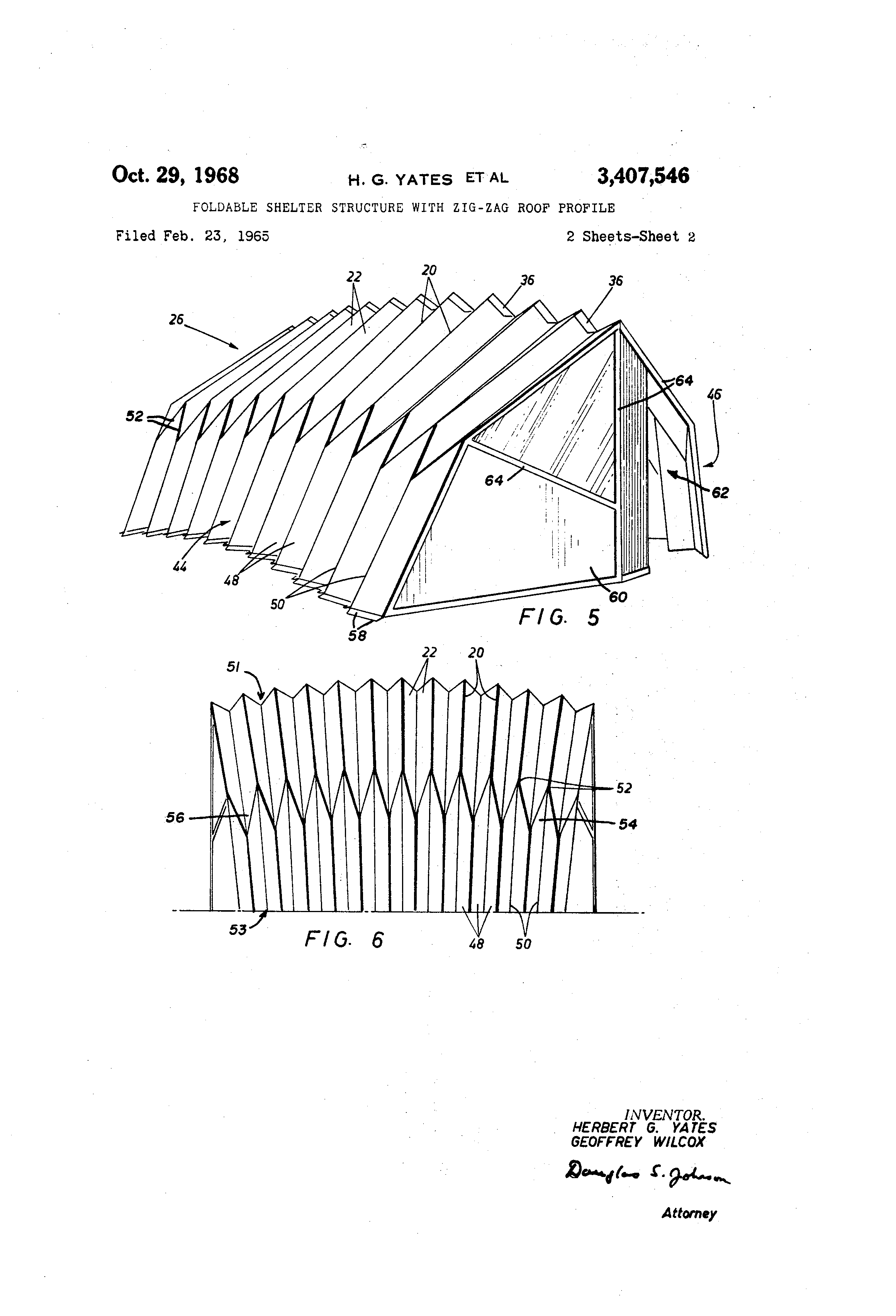 Foldable shelter structure with zig-zag roof profile US