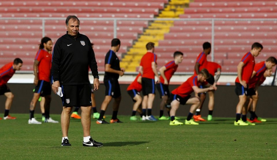 Bruce Arena at the U.S. training session Monday in Panama