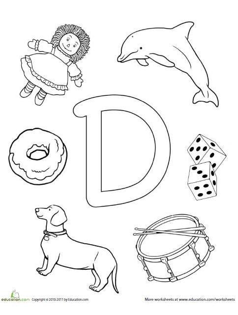 d coloring page prek letter d crafts preschool letters preschool worksheets. Black Bedroom Furniture Sets. Home Design Ideas