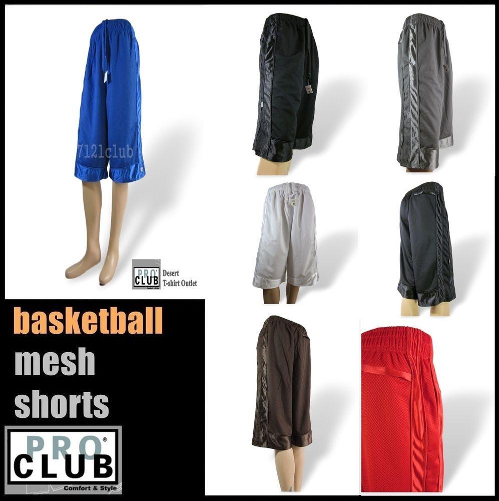 PROCLUB PRO CLUB MENS PLAIN BASKETBALL SHORTS CASUAL HEAVYWEIGHT MESH SHORTS GYM