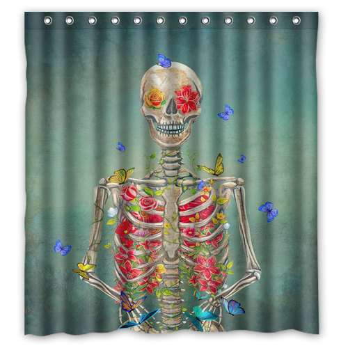 Floral Skeleton And Butterflies Shower Curtain Anatomy Bath Decor Home Shab