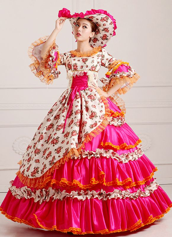 Elegant Yellow Floral Renaissance Rococo Princess Long Party Dress 18th Century Marie Antoinette Dress Costume For Women Women's Clothing