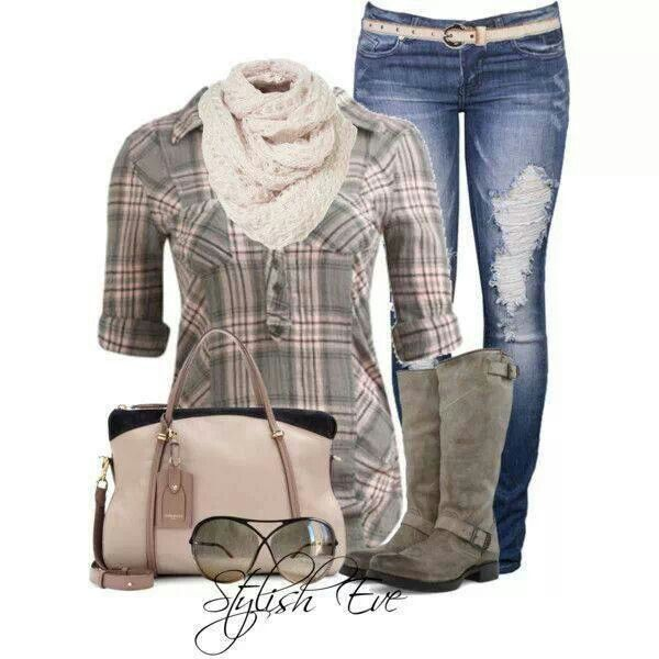 Grey & pink plaid button down, jeans, grey boots. Fall or Winter.