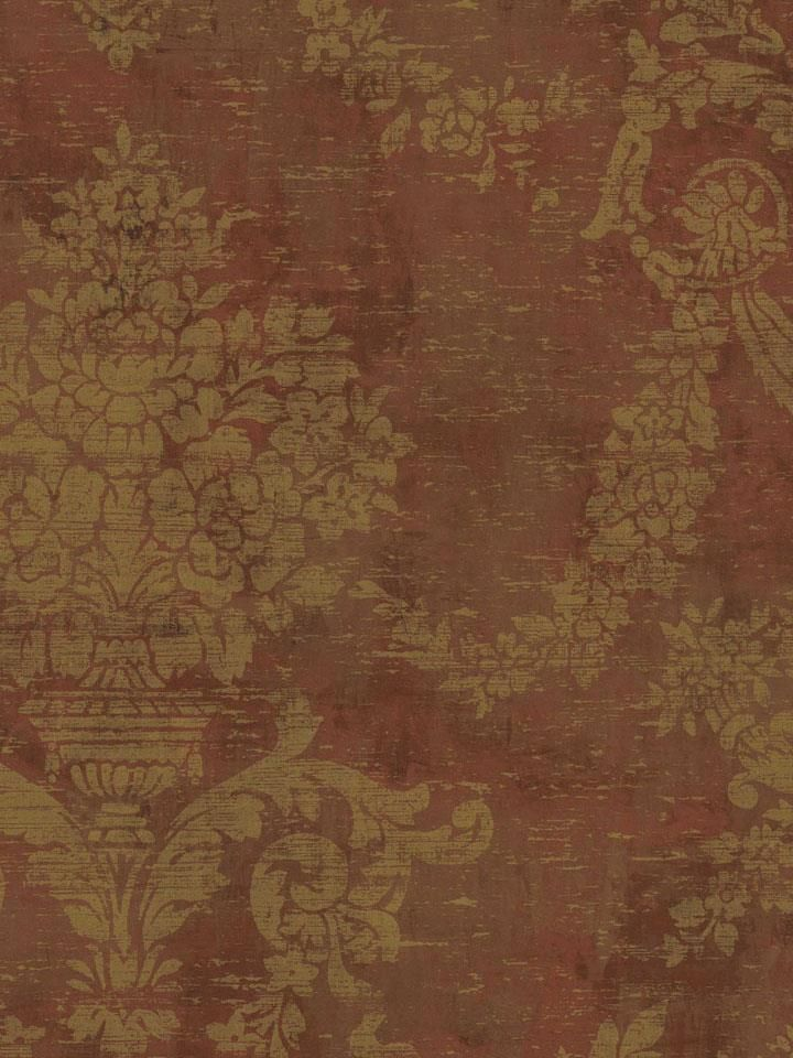 Wallpaper Designer Gold Damask on Rust Red Faux Damask