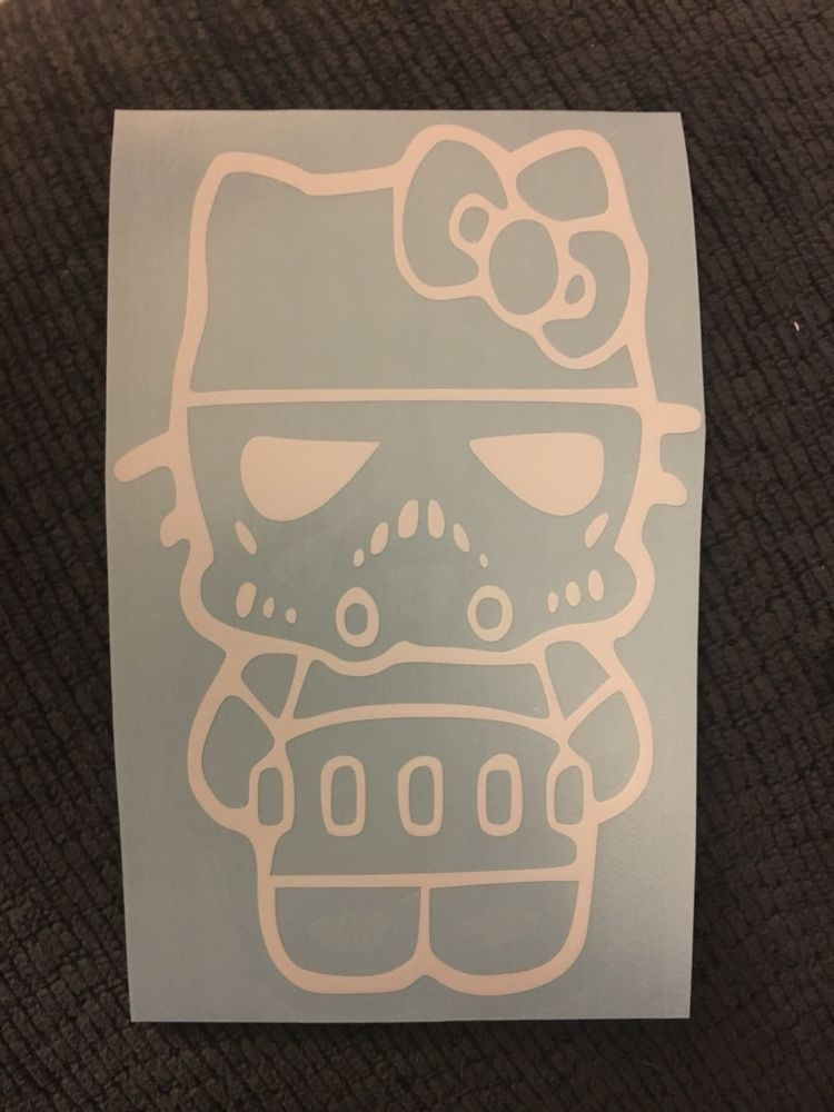 Hello Kitty Stormtrooper Decal Vinyl Bumper Sticker Car Funny Cute