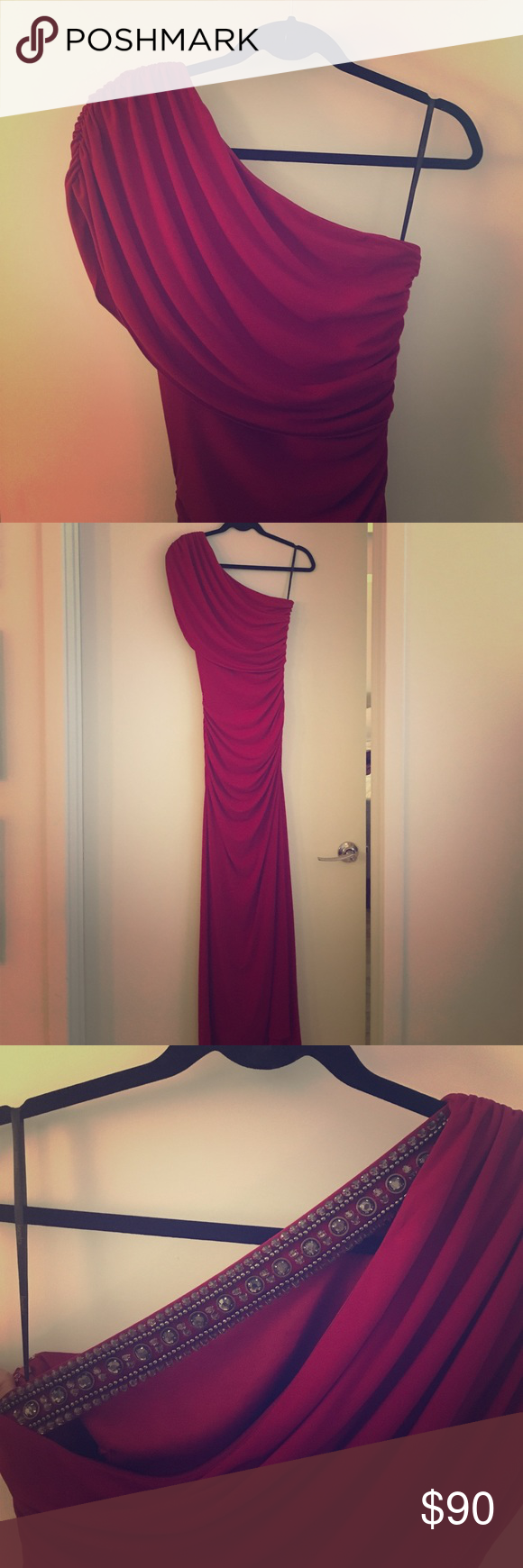 Laundry by Shelli Segal | Formal Dress (Size 2) Laundry by Shelli Segal Burgundy/Red One-Shoulder Evening Dress (Size 2). Wore this dress once to a holiday party, so it's like new! Dress has sparkling jewel and beaded accents in the back strap (as shown in picture) and the dress drapes gracefully over the shoulder. Ruched on the sides, which is extremely flattering on the body. No side slit.  - Polyester/Spandex material; polyester interior lining - Concealed side zip Laundry by Shelli Segal…