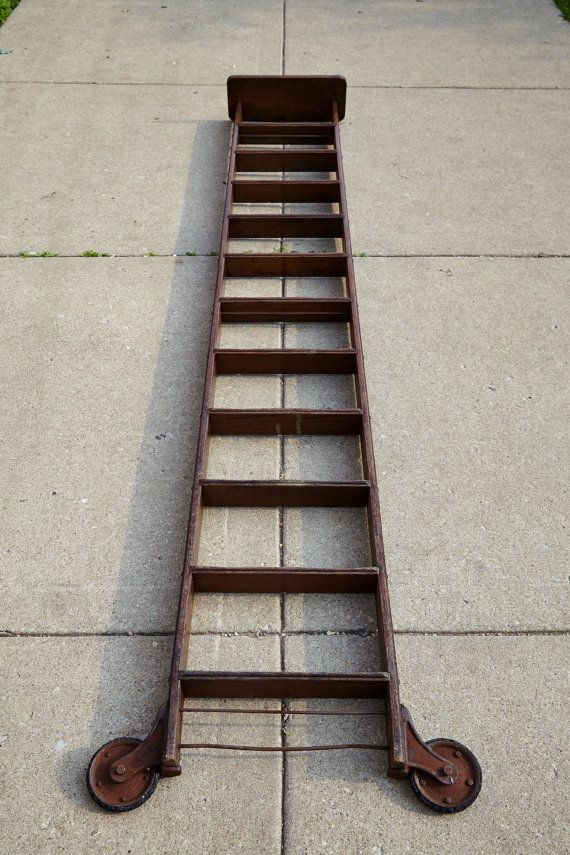 Vintage 10 Oak Rolling Library Step Ladder With By Salvagechicago Library Ladder Vintage Ladder Loft Ladder