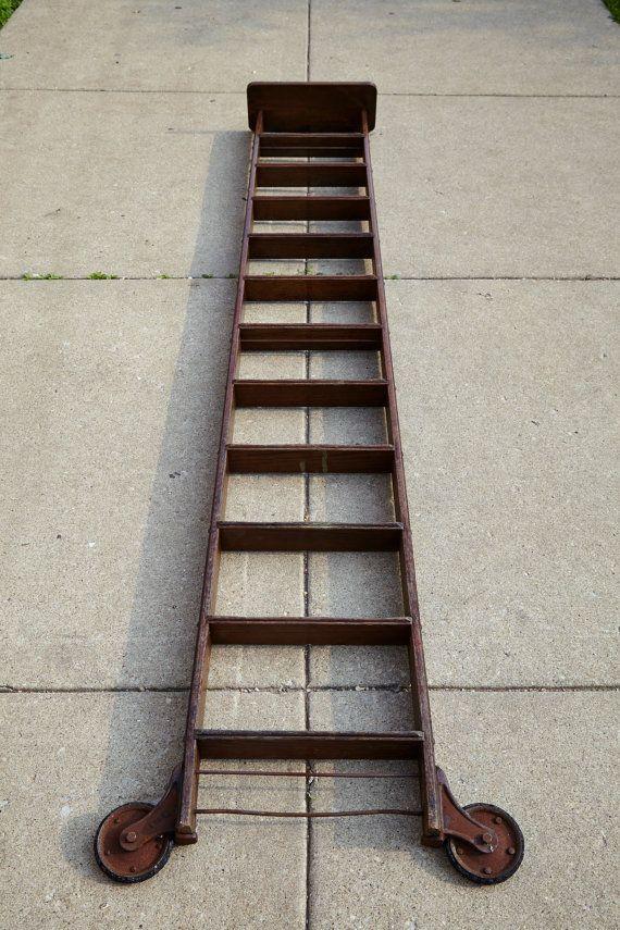 Vintage 10 Oak Rolling Library Step Ladder With By Salvagechicago Vintage Ladder Library Ladder Loft Ladder