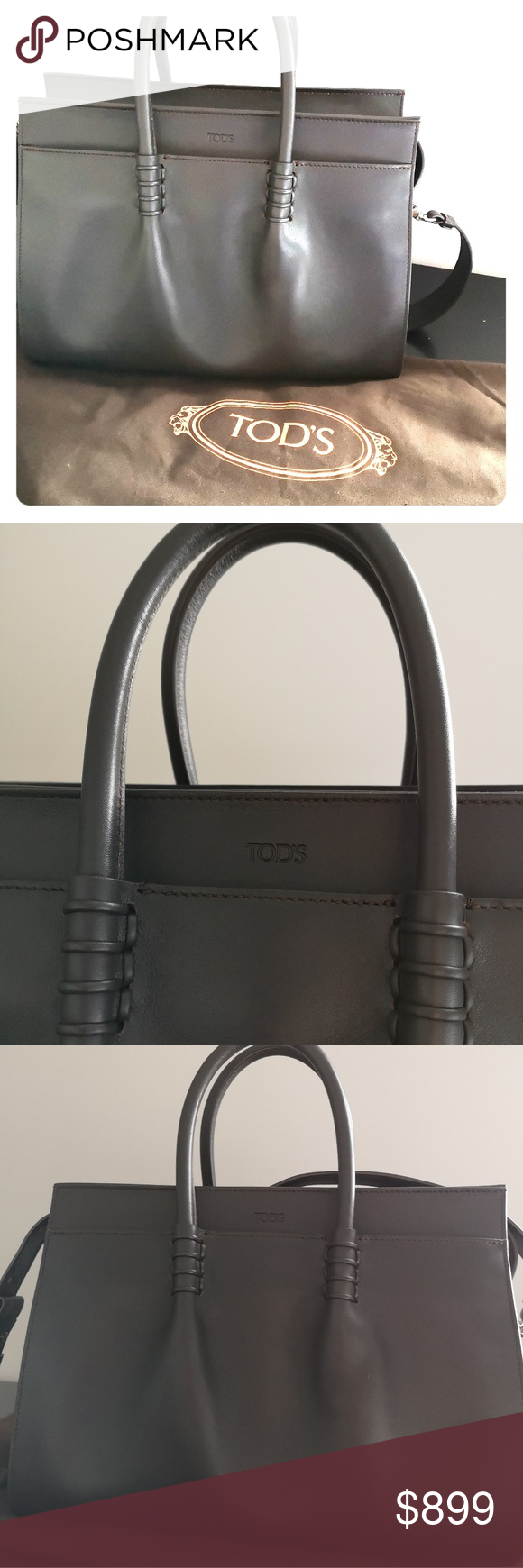 2eb73e11a4 Tod's Classic Handbag LDM Bauletto Medio The perfect work purse that will  work with any outfit Lots of pockets Genuine Leather Color: Charcoal Made  in Italy ...