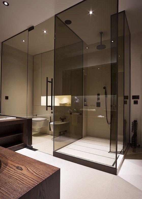 Modern Glass Walk In Shower Enclosure Bathroom Interior Design Bathroom Interior Residential Interior Design