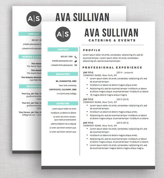 Professional Resume Template Cv And Cover Letter Microsoft Word