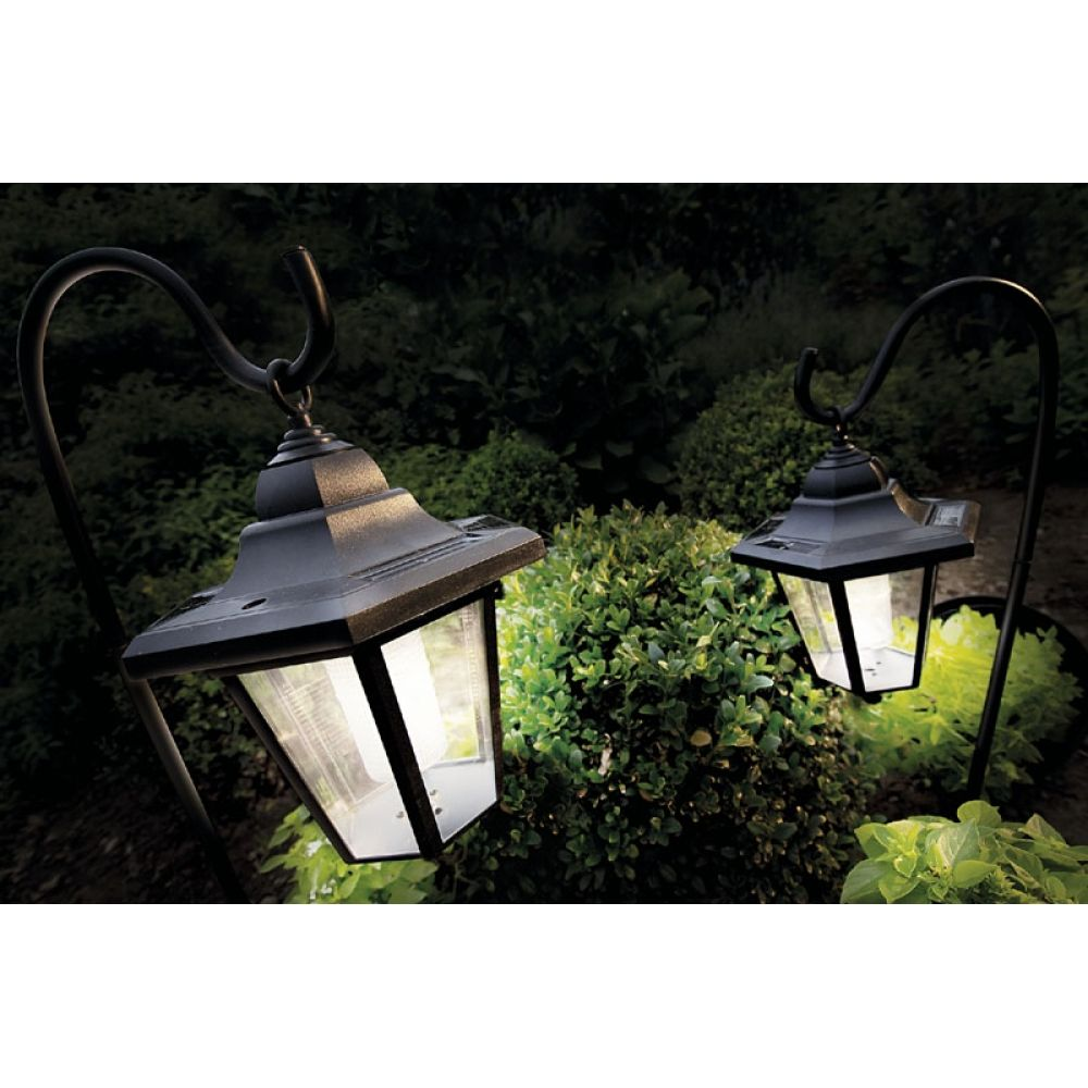 solar patio lanterns | coach lights with shepherd's hooks ...