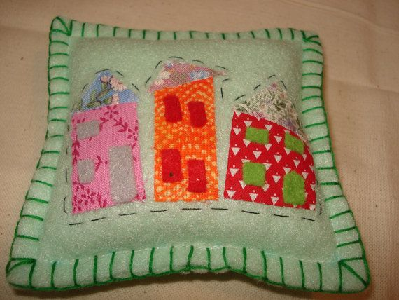 Green Felt Wonky Town Pincushion Fabric by BerryNiceCushions, £4.00