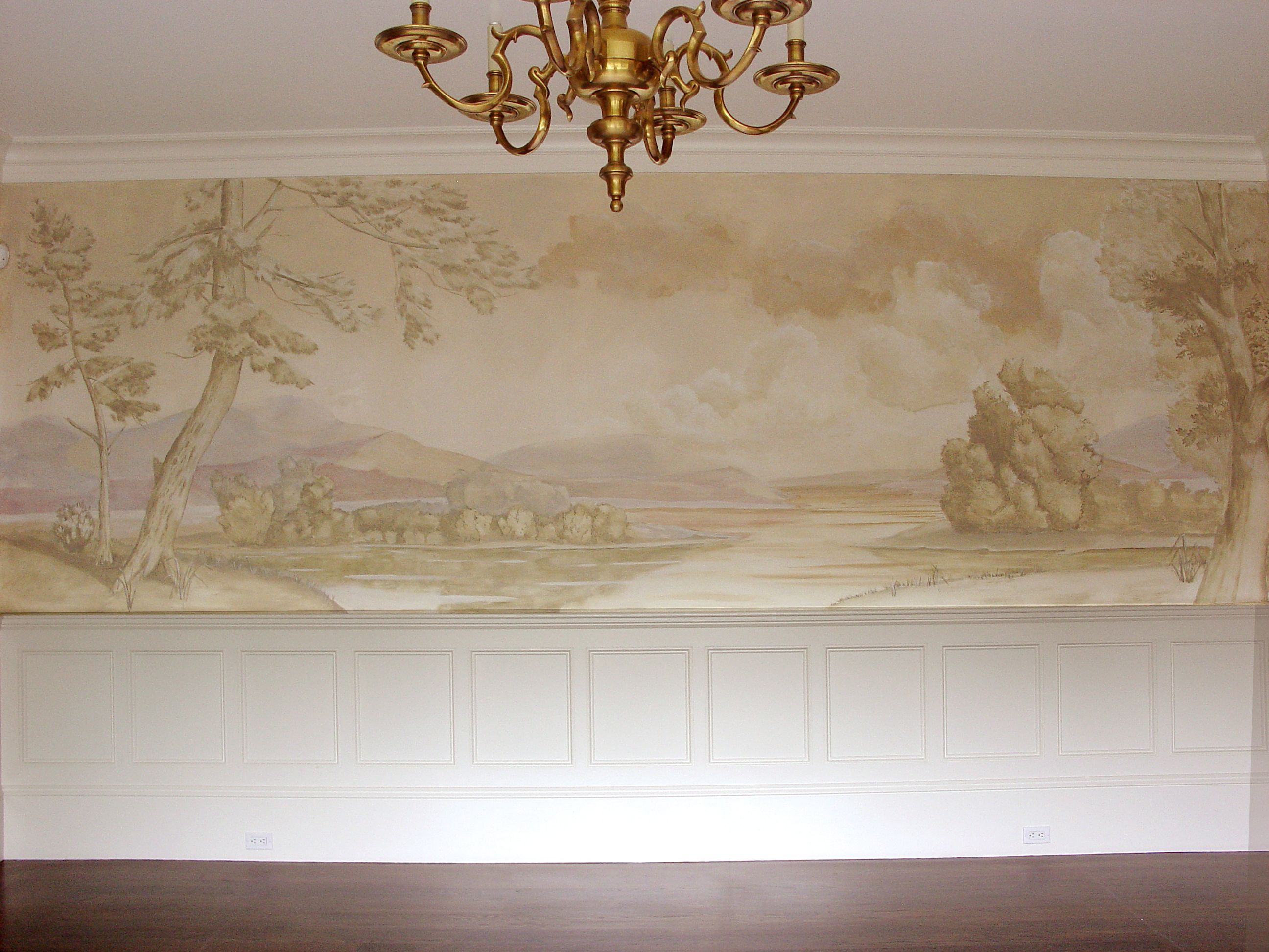Dining Room Landscape Mural In Monochromatic Colors Mural Mural Painting Painting