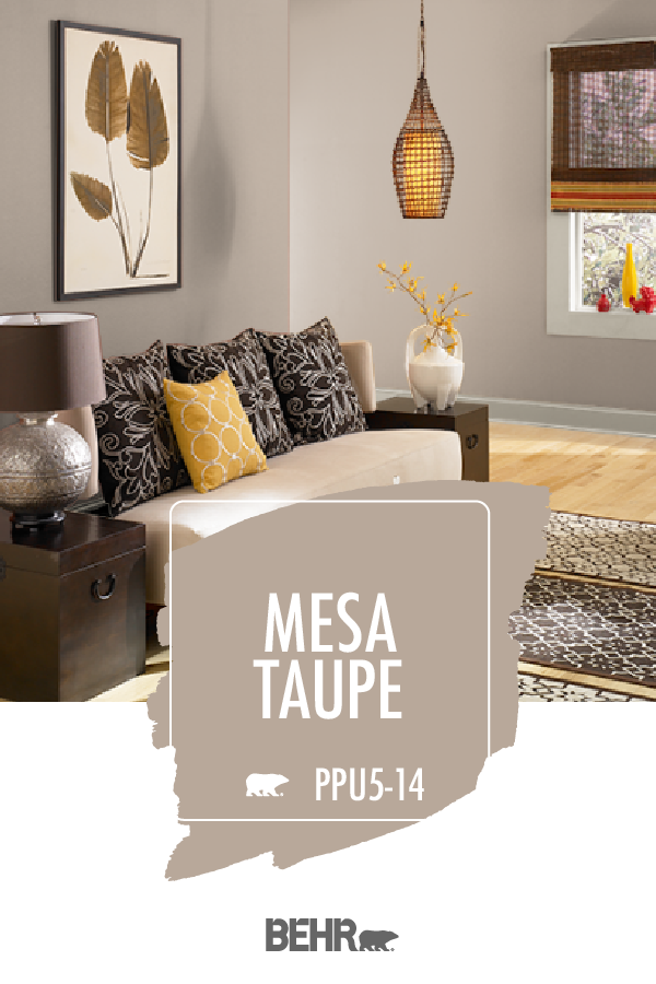 Cozy Up To The Warm Beige Hue Of Behr Paint In Mesa Taupe This Neutral Wall Color Is Paired W Living Room Warm Paint Colors For Living Room Taupe Living Room #neutral #wall #colors #for #living #room