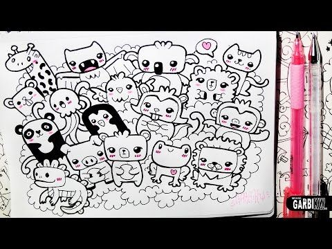 ♥ Kawaii Animals Party ♥ Hello Doodles ♥ Easy Drawings by Garbi KW - YouTube