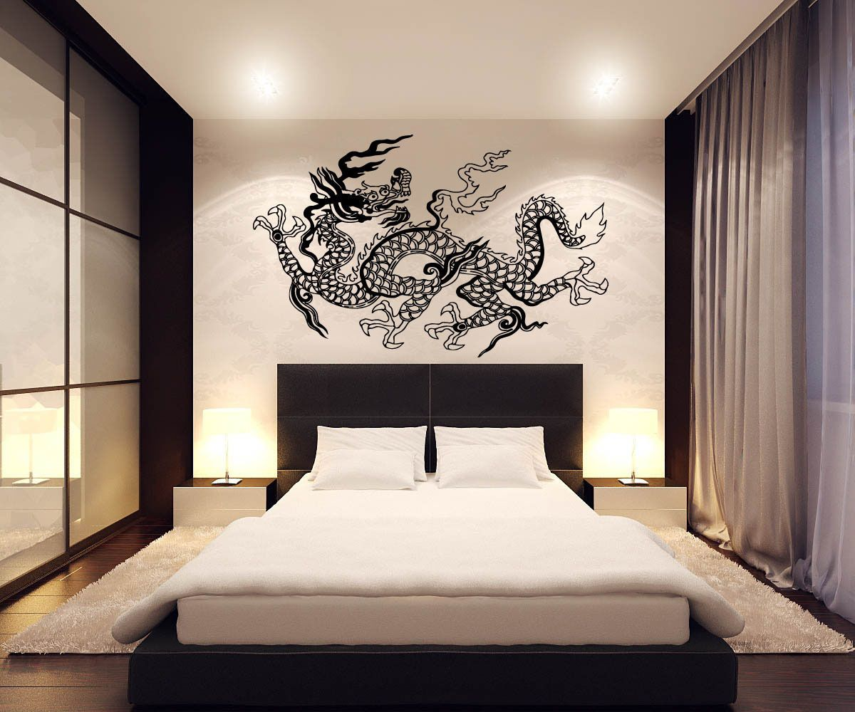 Dragon Wall Decor Japanese Dragon Wall Decor Vinyl Decal Sticker D Japanes On Tribal Dragon Wall Sticker Winged Monster Decal Boys Bed