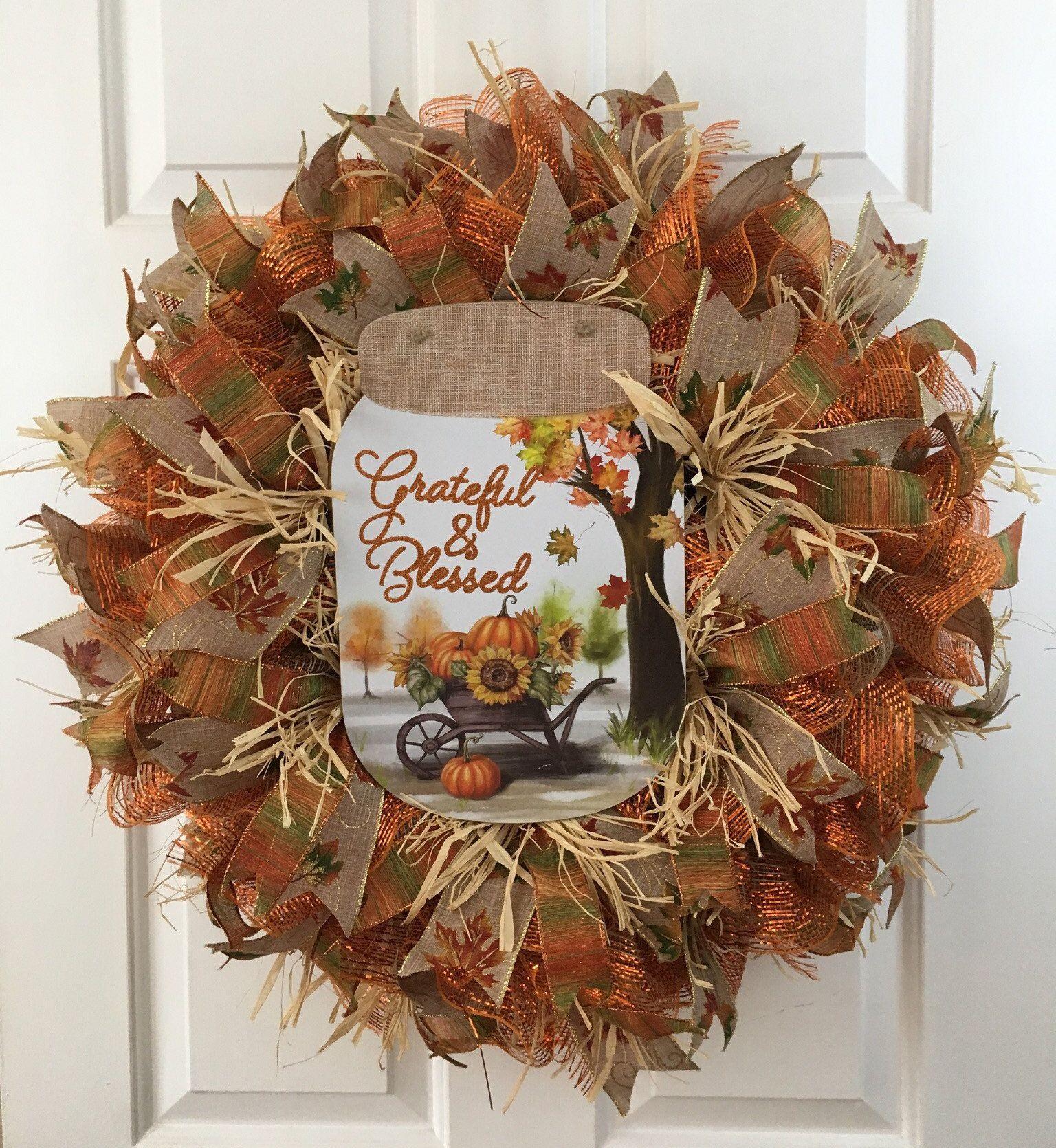 Photo of Fall Grateful and Blessed Wreath, Harvest Wreath, Autumn Wreath, Rustic Wreath, Farmhouse Wreath