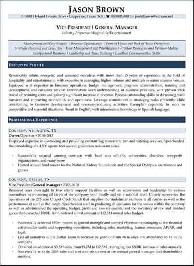Vice President General Manager Resume Sample