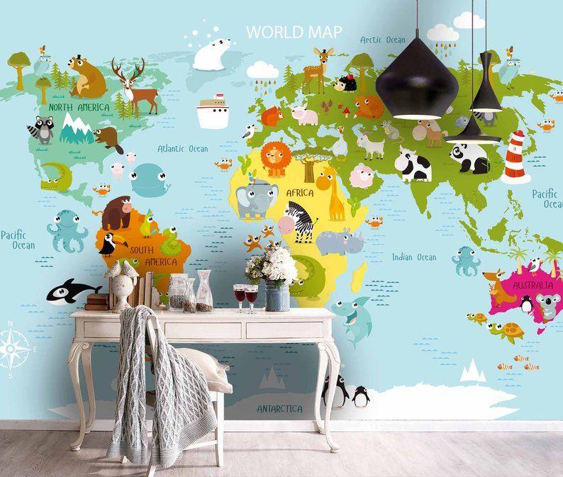 3d Kids Cartoon Animal World Map Wallpaper Nursery Etsy World Map Wallpaper Map Wallpaper Map Wall Mural