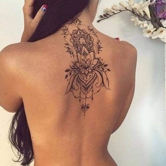 Extrem Tatouage de Femme : Tatouage Fleur de lotus Noir et gris sur Dos  BR13