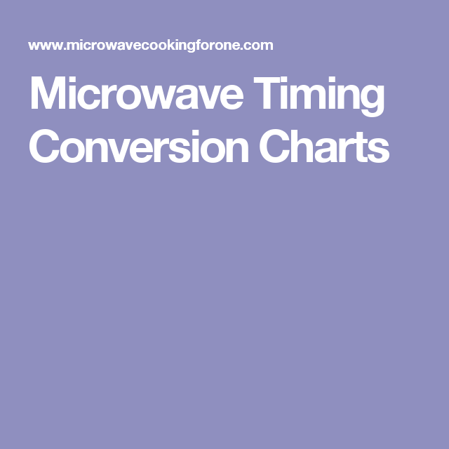 Microwave To Oven Time Converter: Microwave Timing Conversion Charts