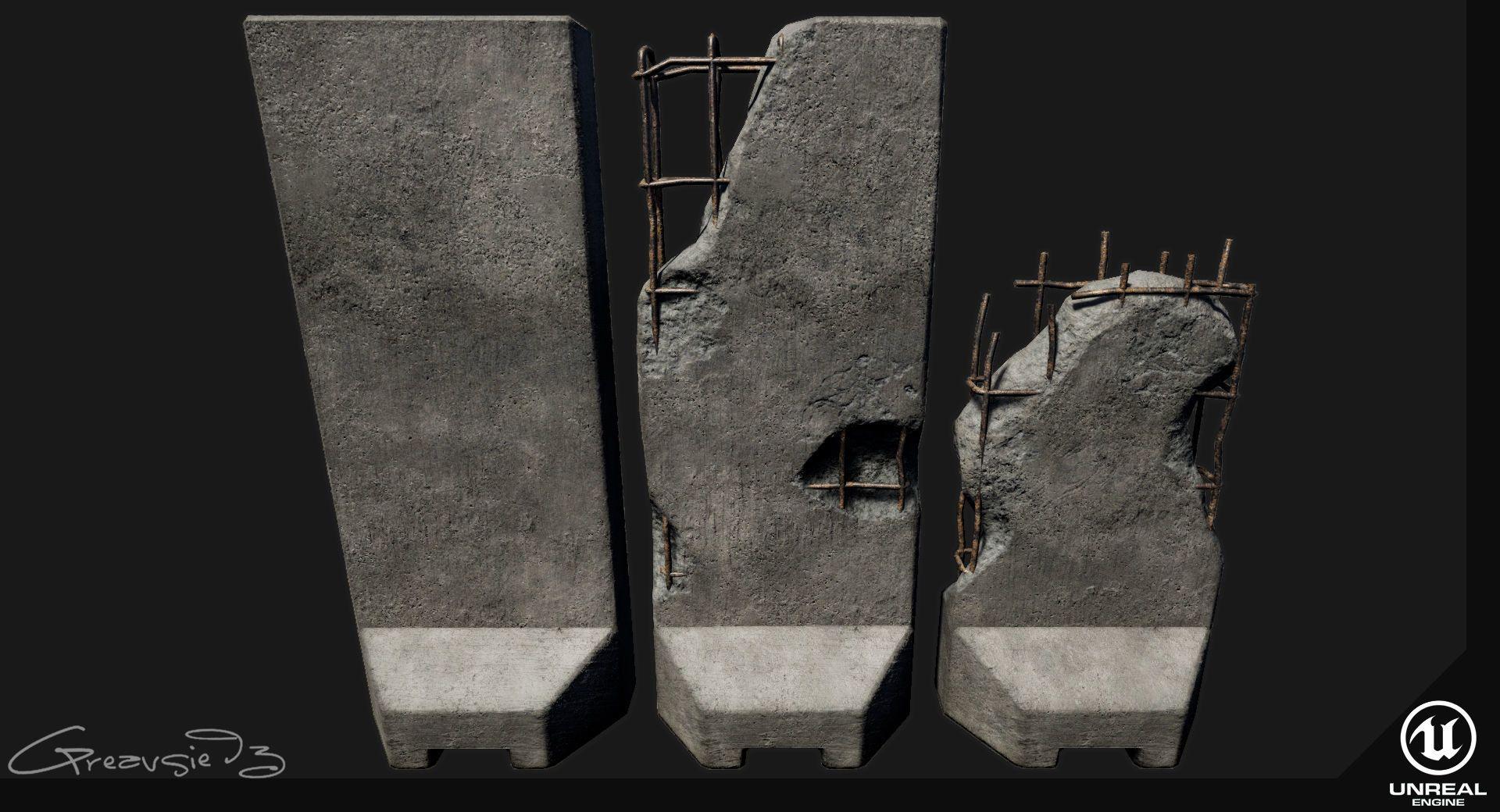 Low Poly Pbr Concrete Blast Wall 3d Model Low Poly Max Obj Fbx Uasset Jpg 1920 1040