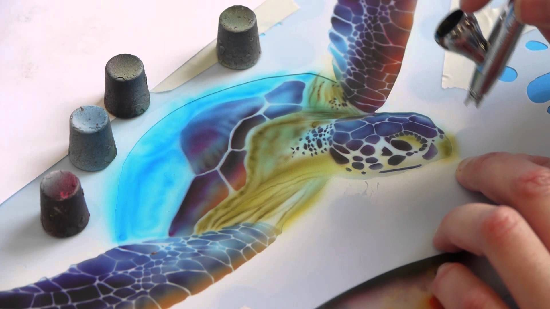 Airbrush Tutorial: Turtle Sealife Stencil Harder & Steenbeck Airbrush An...