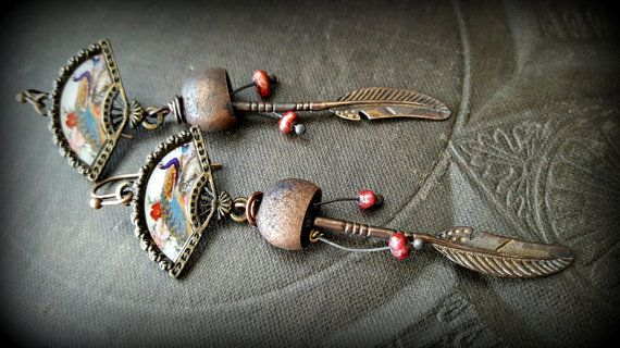 Enameled Bird Beads, Copper Earrings, Vintage Copper Buckets, Feathers, Pearls, Earthy, Organic, Rustic, Beaded Earrings