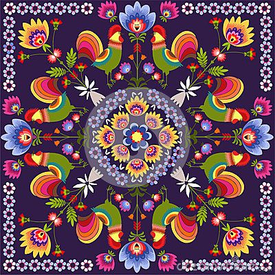 Polish Folk Traditional Design With Floral