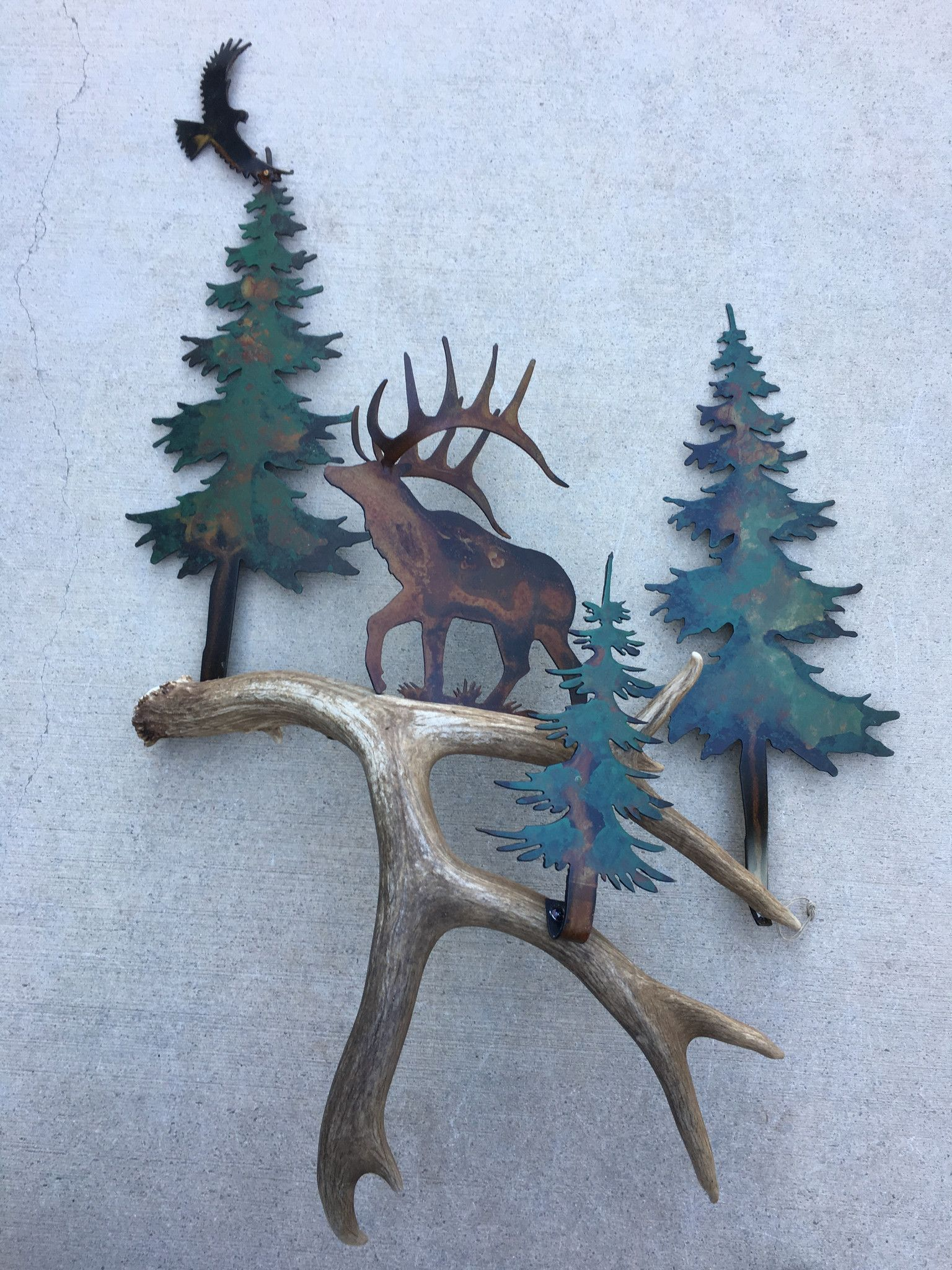 A135 Elk In The Pines Authentic Antler And Metal Wall Art Antler Art Metal Wall Art Art