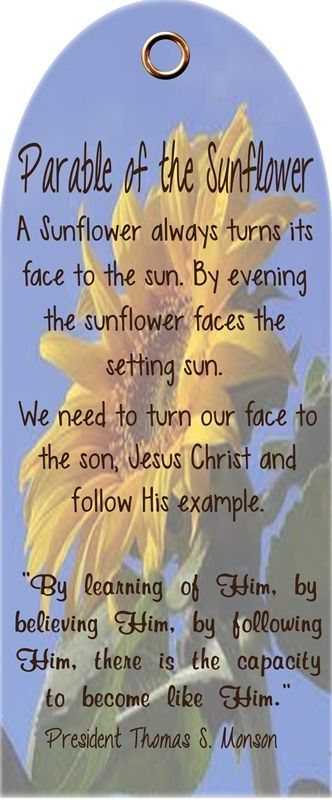 """""""Parable of the Sunflower"""" by President Thomas S. Monson - love this analogy!"""