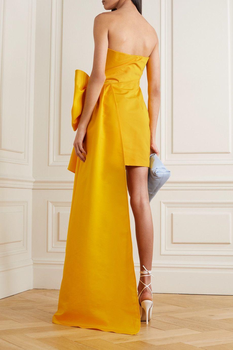 Yellow Strapless Draped Faille Mini Dress Carolina Herrera In 2021 Dresses Mini Dress Strapless Dress Formal [ 1380 x 920 Pixel ]