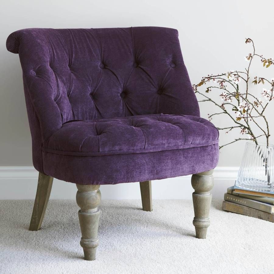 purple velvet bedroom chair by primrose & plum