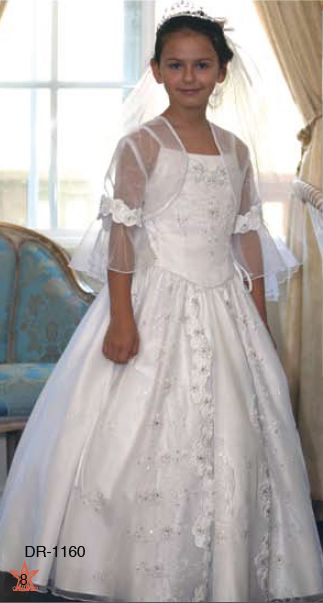 b6e6c19009 First Communion Dress with Embroidery and Organza Overlay