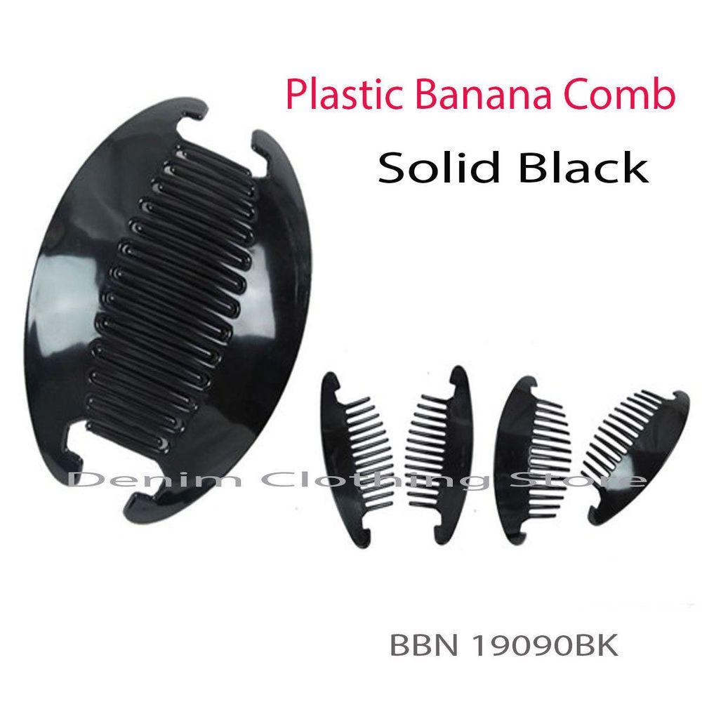 3~12 set (24pc) Jumbo Interlocking Jaw Hair Comb Banana Clip Extra Large Black