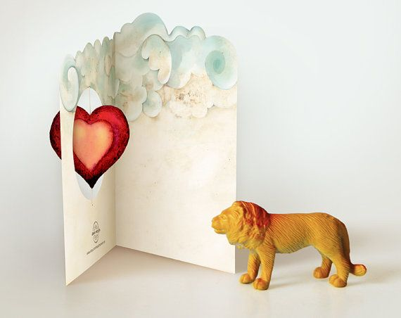 Lions heart Printable card or invitation DIY Pop Up illustrated made by dreamversion