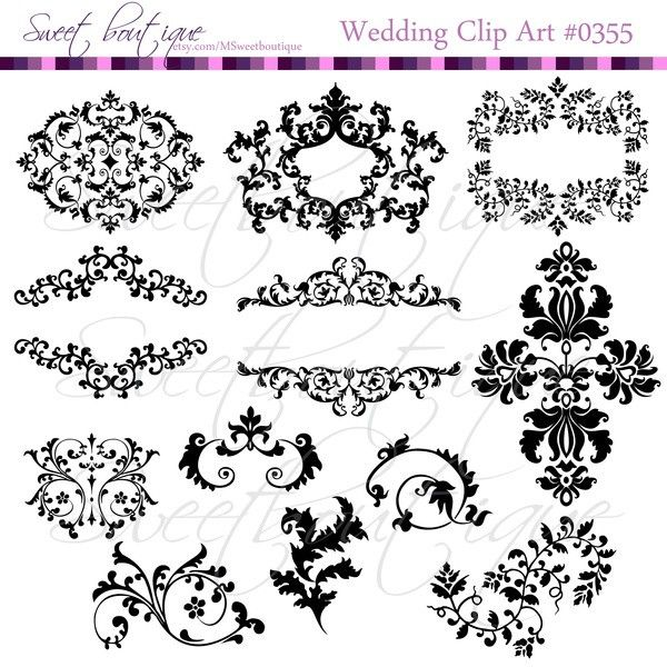 Wedding Digital Frames clip art clipart scrapbook invitation