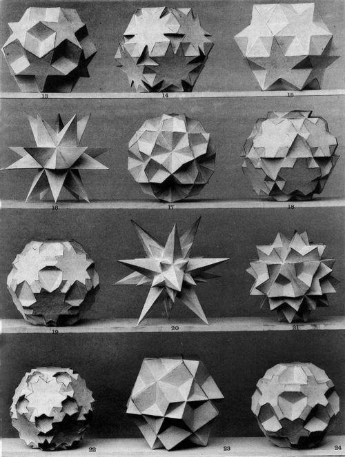 Twelve 3D Geometric Sphere Shapes ___ Max Brückner, from his book Vielecke und Vielfläche, 1900....