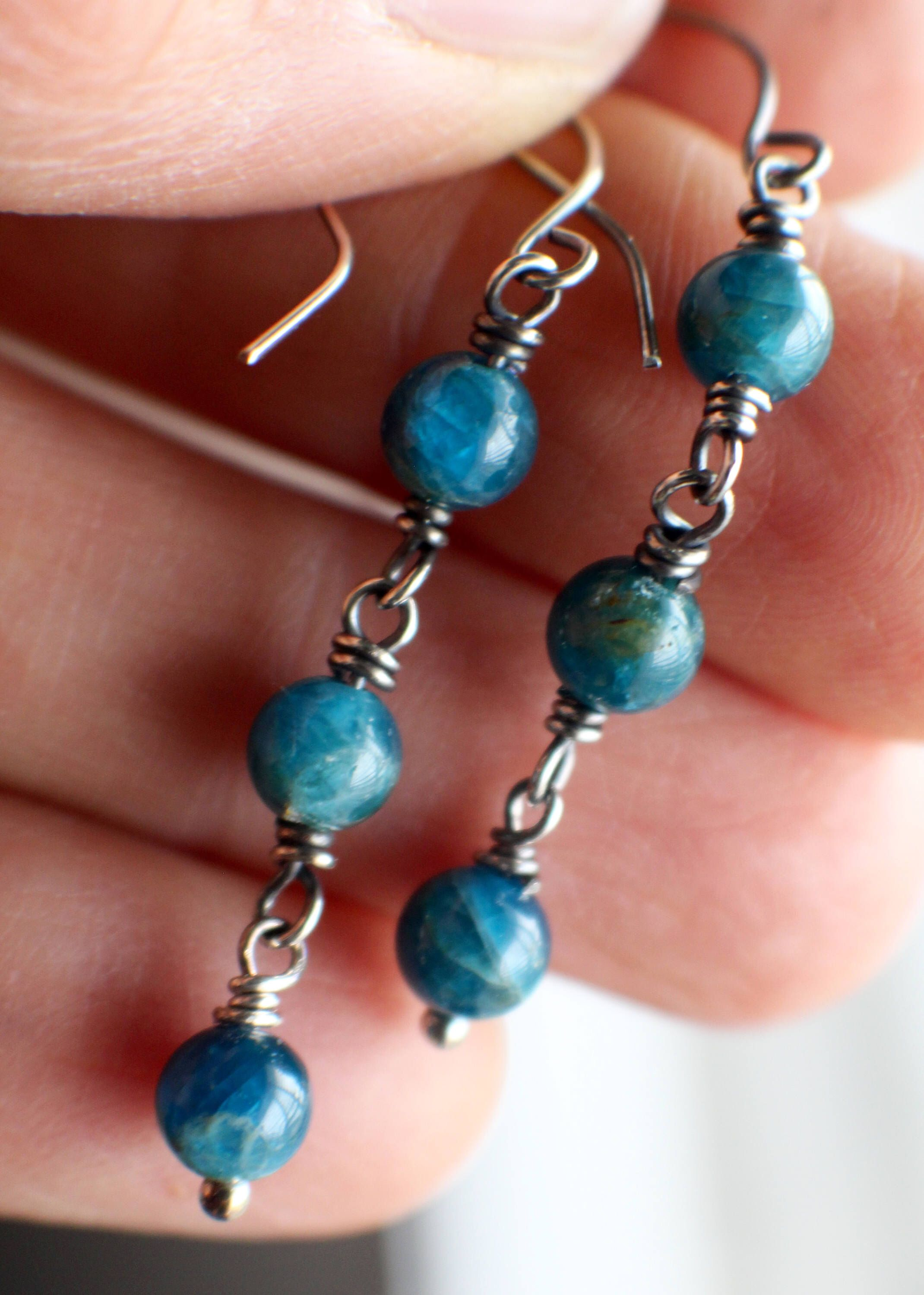 apatite pin silver earrings teal gemstones oxidized gemstone jewelry sterling