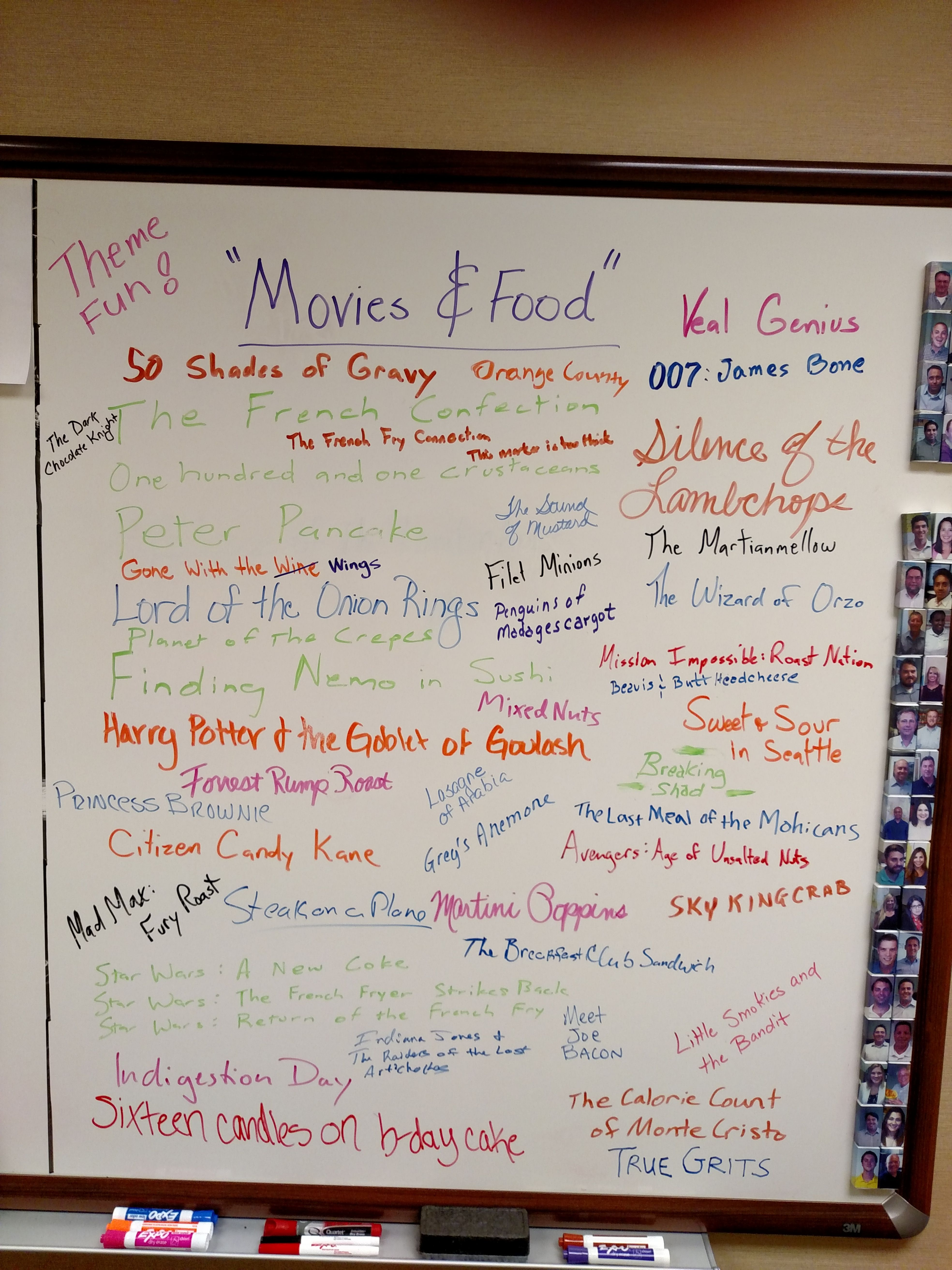 Whiteboard 3 FOOD & MOVIES Work Team Building Ideas
