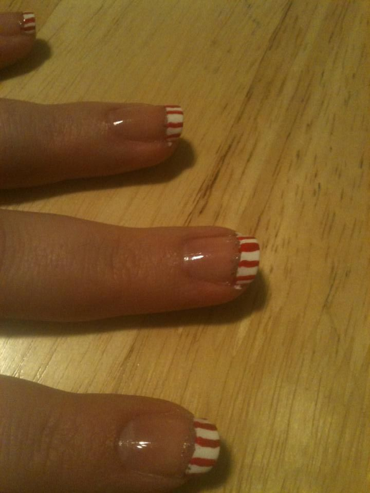 Candy cane french tip with glitter