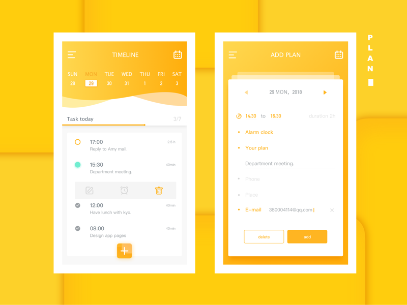 work planning (to do list) Mobile web design, Android